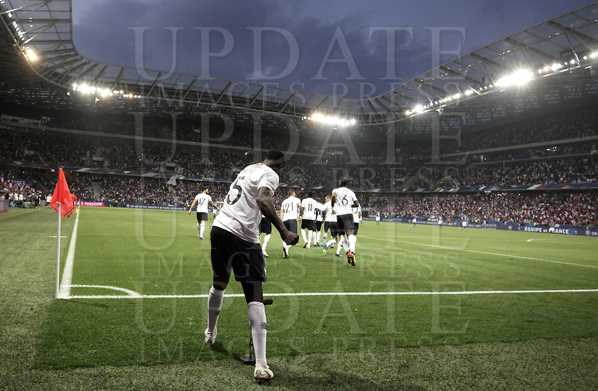 International friendly football match France vs Italy, Allianz Riviera, Nice, France, June 1, 2018. <br /> France's Samuel Umtiti celebrates after scoring during the international friendly football match between France and Italy at the Allianz Riviera in Nice on June 1, 2018.<br /> UPDATE IMAGES PRESS/Isabella Bonotto