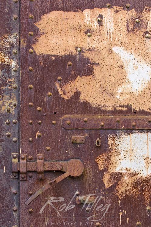 Abstract Detail of Steel Door, Artillery Hill, Fort Warden, Port Townsend, WA, USA