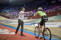 mid-race bidon for Ollie Wood (GBR)<br /> <br /> 2016 Gent 6<br /> day 6