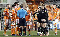 Blackpool's Jay Spearing remonstrates with referee Anthony Backhouse<br /> <br /> Photographer Rich Linley/CameraSport<br /> <br /> The EFL Sky Bet League One - Blackpool v Barnsley - Saturday 22nd December 2018 - Bloomfield Road - Blackpool<br /> <br /> World Copyright &copy; 2018 CameraSport. All rights reserved. 43 Linden Ave. Countesthorpe. Leicester. England. LE8 5PG - Tel: +44 (0) 116 277 4147 - admin@camerasport.com - www.camerasport.com