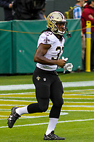New Orleans Saints running back Trey Edmunds (33) during a National Football League game against the Green Bay Packers on October 22, 2017 at Lambeau Field in Green Bay, Wisconsin.  New Orleans defeated Green Bay 26-17. (Brad Krause/Krause Sports Photography)
