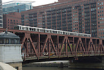 chicago lake street bridge train and car