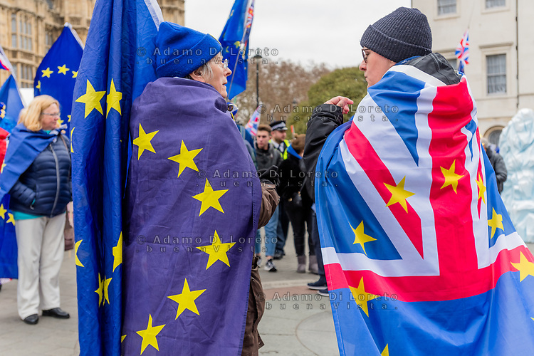 LONDON, ENGLAND - JANUARY 15: two pro europe outside the House of Commons on January 15, 2019 in London, England. Theresa May's Brexit deal finally reaches the House of Commons this evening and MPs will begin voting on it at 7pm. The Prime Minister has consistently said her's is the only deal that Brussels will entertain and urged support from Parliament to avoid the UK crashing out of the European Union with no deal. Photo Adamo Di Loreto