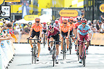 Geraint Thomas (WAL) Team Ineos and Alex Dowsett (GBR) Team Katusha Alpecin cross the finish line at the end of Stage 1 of the 2019 Tour de France running 194.5km from Brussels to Brussels, Belgium. 6th July 2019.<br /> Picture: Colin Flockton | Cyclefile<br /> All photos usage must carry mandatory copyright credit (© Cyclefile | Colin Flockton)