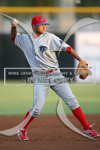 April 10th 2009:  Shortstop Freddy Galvis (7) of the Clearwater Threshers, Florida State League Class-A affiliate of the Philadelphia Phillies, during a game at Dunedin Stadium in Dunedin, FL.  Photo by:  Mike Janes/Four Seam Images