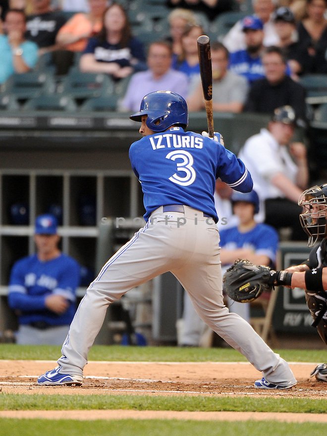 Toronto Blue Jays Maicer Izturis (3) during a game against the Chicago White Sox on June 11, 2013 at US Cellular Field in Chicago, IL. The Blue Jays beat the White Sox 7-5.