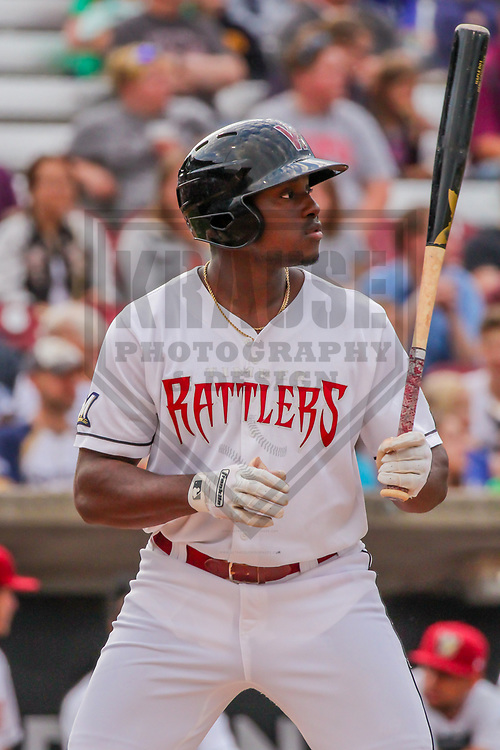 Wisconsin Timber Rattlers outfielder Demi Orimoloye (6) during a Midwest League game against the Quad Cities River Bandits on June 8, 2017 at Fox Cities Stadium in Appleton, Wisconsin.  Wisconsin defeated Quad Cities 8-3. (Brad Krause/Krause Sports Photography)