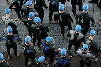 05 AUG 2007 - LONDON, UK - Age group competitors prepare for the start of their race - London Triathlon. (PHOTO (C) NIGEL FARROW)
