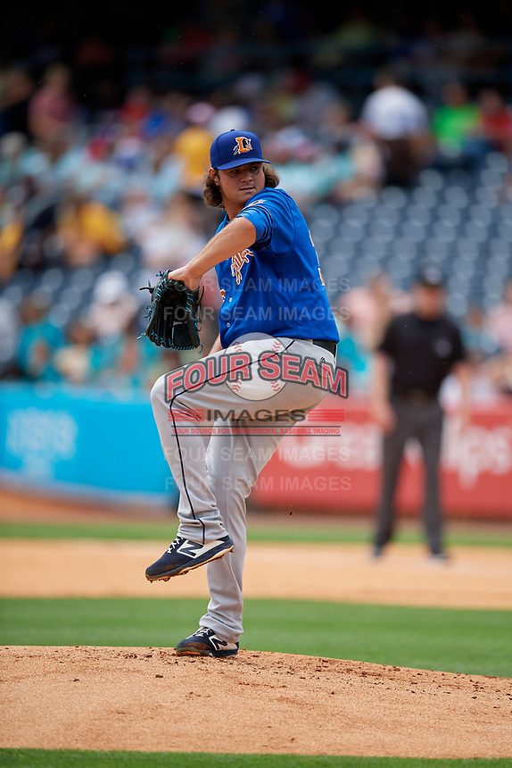 Durham Bulls pitcher Ian Gibaut (36) during an International League game against the Toledo Mud Hens on July 16, 2019 at Fifth Third Field in Toledo, Ohio.  Durham defeated Toledo 7-1.  (Mike Janes/Four Seam Images)