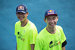 Red Bull Athletes Chiao Cheng (right) and Tiger Huang (left) pose for a photograph during the Wings for Life World Run on 08 May, 2016 in Yilan, Taiwan. Photo by Victor Fraile / Power Sport Images