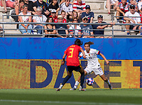 REIMS,  - JUNE 24: Leila Ouahabi #3 defends Tobin Heath #17 during a game between NT v Spain and  at Stade Auguste Delaune on June 24, 2019 in Reims, France.