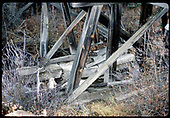 Detail of bent on abandoned RGS Bridge 18-D near Sams.<br /> RGS  Sams, CO  Taken by Dorman, Richard L. - ca. 1970-1979
