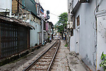 Hanoi, Vietnam, Railroad tracks run through the center of town. photo taken July 2008.