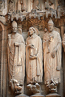 .South Porch, Right Portal c. 1194-1230,  Cathedral of Notre Dame, Chartres, France. Gothic statues of from left to right they are .Statues- Martin, Jerome and Gregory. A UNESCO World Heritage Site.