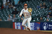 Texas Longhorns first baseman Zach Zubia (52) waits for a throw during the game against the Missouri Tigers in game eight of the 2020 Shriners Hospitals for Children College Classic at Minute Maid Park on March 1, 2020 in Houston, Texas. The Tigers defeated the Longhorns 9-8. (Brian Westerholt/Four Seam Images)