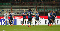 Calcio, Coppa Italia: semifinale di ritorno Inter vs Juventus. Milano, stadio San Siro, 2 marzo 2016. <br /> FC Inter&rsquo;s Ivan Perisic, fourth from right, celebrates after scoring during the Italian Cup second leg semifinal football match between Inter and Juventus at Milan's San Siro stadium, 2 March 2016.<br /> UPDATE IMAGES PRESS/Isabella Bonotto