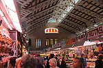 Stalls inside central market building, city of Valencia, Spain