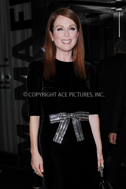 WWW.ACEPIXS.COM<br /> September 28, 2015 New York City<br /> <br /> Julianne Moore arriving at a screening  of 'Freeheld' at the Museum of Modern Art on September 28 2015 in New York City.<br /> <br /> Credit: Kristin Callahan/ACE Pictures<br /> <br /> Tel: (646) 769 0430<br /> e-mail: info@acepixs.com<br /> web: http://www.acepixs.com