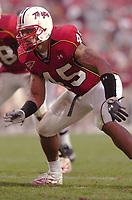 30 October 2004:  Shawne Merriman (45).Maryland upset #5 Florida State 20-17 October 30, 2004 at Byrd Stadium in College Park, MD..Mandatory Credit: Randy Litzinger/Icon SMI