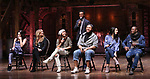 "Lexi Garcia, Elizabeth Judd, Sasha Hollinger, Sean Green, Lauren Boyd, Justin Dine Bryant and J. Quinton Johnson during the  #EduHam matinee performance Q & A for ""Hamilton"" at the Richard Rodgers Theatre on 3/28/2018 in New York City."