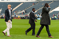 Freddy Adu (center) of the Philadelphia Union walks off the field after the match. The New York Red Bulls defeated the Philadelphia Union 3-0 during a Major League Soccer (MLS) match at PPL Park in Chester, PA, on October 27, 2012.