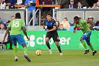 SAN JOSE, CA - SEPTEMBER 30: Shea Salinas #6 of the San Jose Earthquakes during a Major League Soccer (MLS) match between the San Jose Earthquakes and the Seattle Sounders on September 30, 2019 at Avaya Stadium in San Jose, California.