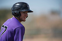 Colorado Rockies first baseman Casey Golden (77) during a Minor League Spring Training game against the Milwaukee Brewers at Salt River Fields at Talking Stick on March 17, 2018 in Scottsdale, Arizona. (Zachary Lucy/Four Seam Images)