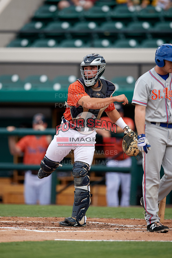 Lakeland Flying Tigers catcher Brady Policelli throws down to third base during the second game of a doubleheader against the St. Lucie Mets on June 10, 2017 at Joker Marchant Stadium in Lakeland, Florida.  Lakeland defeated St. Lucie 9-1.  (Mike Janes/Four Seam Images)