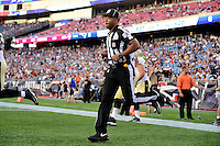 Thursday August 11, 2016:  NFL back judge Rich Martinez (39) takes the field during an NFL pre-season game between the New Orleans Saints and the New England Patriots held at Gillette Stadium in Foxborough Massachusetts. The Patriots defeat the Saints 34-22 in regulation time. Eric Canha/CSM