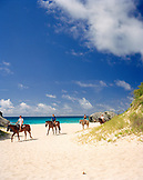 BERMUDA, Horseshoe Bay, tourists horseback riding with sea in the background