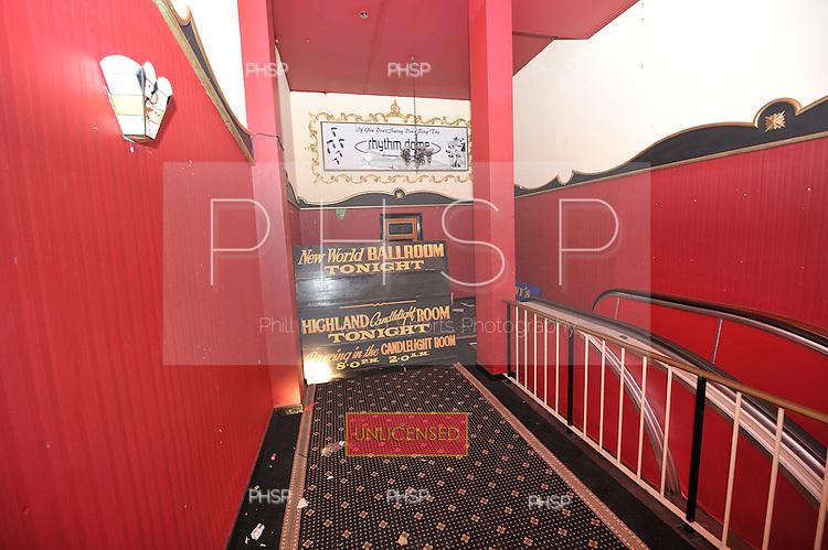 "Original signage for ""New World Ballroom"" and Highland ""Candlelight"" Room,level one corridor"