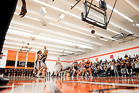 The Occidental College women's basketball team plays against Redlands during their SCIAC postseason tournament final on Saturday, February 27, 2010 in Rush Gym. Redlands won, 55-54, in overtime. (Photo by Marc Campos, Occidental College)