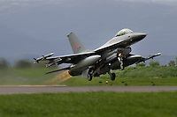 A Norwegian F-16 takes off. Nato Tiger Meet is an annual gathering of squadrons using the tiger as their mascot. While originally mostly a social event it is now a full military exercise. Tiger Meet 2012 was held at the Norwegian air base Ørlandet.