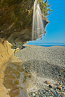 Waterfall on Sandcut Beach, Jordan River Regional Park, British Columbia, Canada