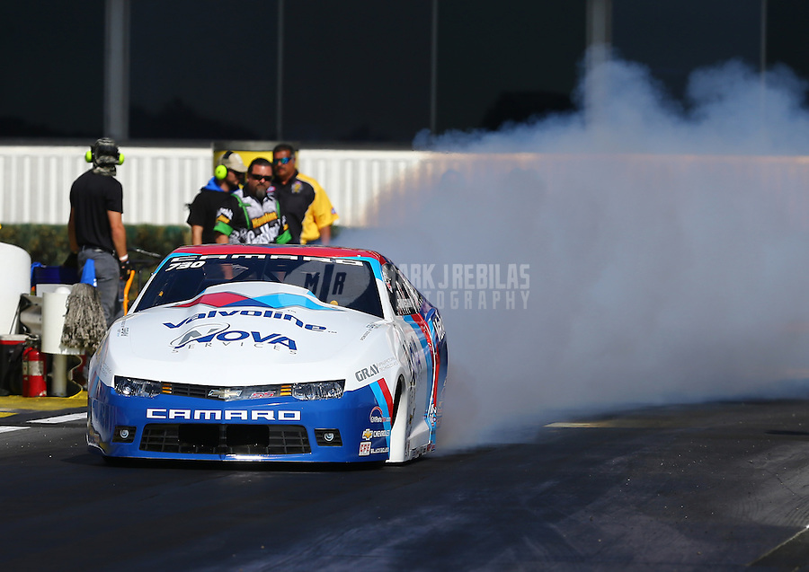 Feb 12, 2016; Pomona, CA, USA; NHRA pro stock driver Shane Gray during qualifying for the Winternationals at Auto Club Raceway at Pomona. Mandatory Credit: Mark J. Rebilas-USA TODAY Sports