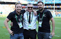 PRETORIA, SOUTH AFRICA - OCTOBER 06: Joe Locke (Media Manager, centre) of the New Zealand All Blacks during the Rugby Championship match between South Africa Springboks and New Zealand All Blacks at Loftus Versfeld Stadium. on October 6, 2018 in Pretoria, South Africa.  Photo: Steve Haag / stevehaagsports.com