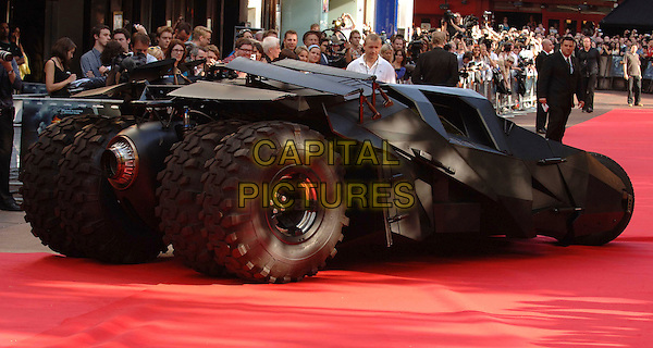 """THE BATMOBILE .At the UK Premiere for the new Batman movie """"The Dark Knight"""", Odeon Leicester Square, London, England,.July 21st 2008..atmosphere car red carpet .CAP/WIZ.©Wizard/Capital Pictures"""