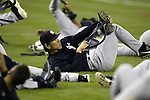 New York Yankees' Hideli Matsui stretches out before their game against the Seattle Mariners in Seattle, Washington on Monday, 29 August, 2005. Jim Bryant Photo. ©2010. ALL RIGHTS RESERVED..