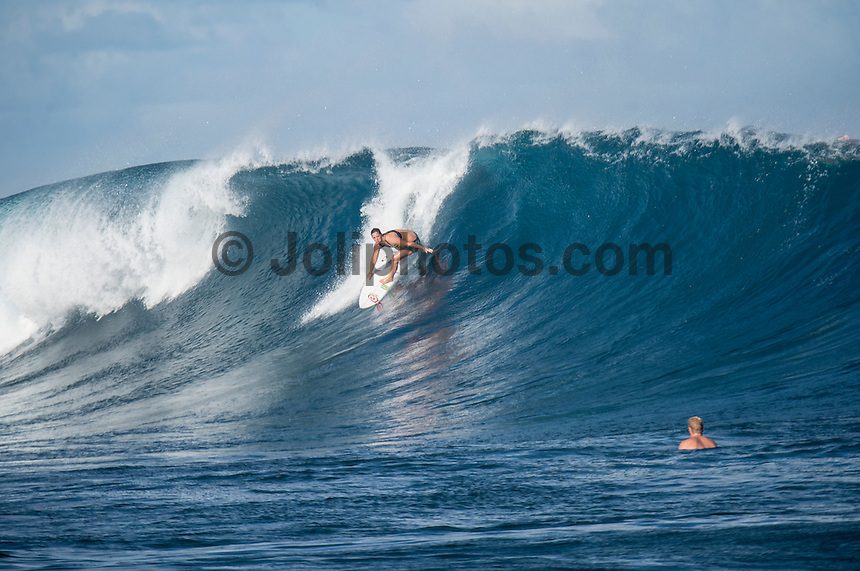Namotu Island Resort, Namotu, Fiji. (Wednesday May 28, 2014) Tyler Wright (AUS) –  The Fiji Women's Pro, Stop No. 5 of 10 on the 2014  Women's World Championship Tour (WCT) was called on today  at Resturants  bemusing of a rising swell at Cloudbreak. 4'-6' south swell.  A  free surf session went down at Cloudbreak with some amazing barrels with the swell pushing 8'-10'.hoto: joliphotos.com