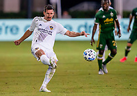 13th July 2020, Orlando, Florida, USA;  Los Angeles Galaxy midfielder Sacha Kljestan (16) shoots the ball during the MLS Is Back Tournament between the LA Galaxy versus Portland Timbers on July 13, 2020 at the ESPN Wide World of Sports, Orlando FL.