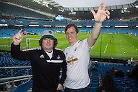 Swansea City fans pictured in the stands ahead of the Barclays Premier League Match between Manchester City and Swansea City played at the Etihad Stadium, Manchester on 12th December 2015