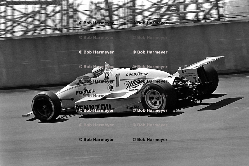 BROOKLYN, MI - AUGUST 2: Rick Mears drives a Roger Penske March 86C 22/Cosworth during the Michigan 500 CART Indy Car race at the Michigan International Speedway near Brooklyn, Michigan, on August 2, 1986.