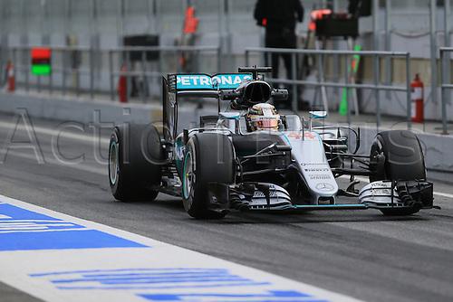 02.03.2016. Barcelona, Spain. Formula 1 winter car testing at Circuit de Barcelona Catalunya Test 2 Day 2.  Mercedes AMG Petronas W07 Hybrid – Lewis Hamilton.