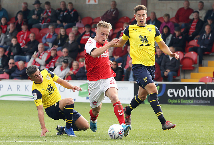 Fleetwood Town's Kyle Dempsey drives towards the Oxford United penalty area<br /> <br /> Photographer Rich Linley/CameraSport<br /> <br /> The EFL Sky Bet League One - Fleetwood Town v Oxford United - Saturday 7th September 2019 - Highbury Stadium - Fleetwood<br /> <br /> World Copyright © 2019 CameraSport. All rights reserved. 43 Linden Ave. Countesthorpe. Leicester. England. LE8 5PG - Tel: +44 (0) 116 277 4147 - admin@camerasport.com - www.camerasport.com