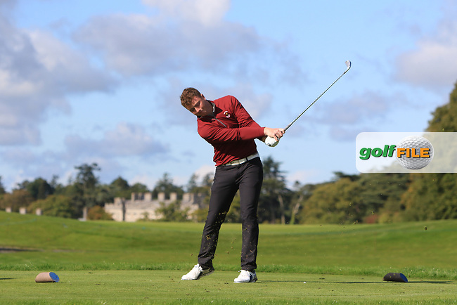 Frank Geary (Ballybunion) on the 2nd tee in the AIG Junior Cup Final during the AIG Cups &amp; Shields Finals at Carton House Golf Club, Maynooth, Co Kildare. 21/09/2017<br /> Picture: Golffile | Thos Caffrey<br /> <br /> <br /> All photo usage must carry mandatory copyright credit     (&copy; Golffile | Thos Caffrey)