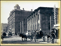 BNPS.co.uk (01202 558833)<br /> Pic: Nosb&uuml;sch&amp;Stucke/BNPS<br /> <br /> Exchange and Government Offices, Sydney.<br /> <br /> A stunning collection of photographs of Sydney decades before the iconic harbour bridge and opera house were built has been unearthed after 129 years.<br /> <br /> The black and white photo album captures the bustling city centre, picturesque main harbour and famous beaches of the future tourist hot-spot. <br /> <br /> The photos were taken by celebrated Australian photographer Henry King in 1888 who was born in England but emigrated to Australia at a young age and spent the rest of his life there.<br /> <br /> More recently they have fallen into the hands of a German collector who has decided to put them on the market and they are tipped to sell for &pound;1,800.<br /> <br /> Many of Sydney's most recognisable landmarks including Manly beach and Coogee bay look very different to what backpackers would encounter today.<br /> <br /> King also took various photos of Circular Quay - the city's main harbour - but missing from them are images of the Sydney Harbour Bridge and Sydney Opera House as these landmarks were both not built until well into the 20th century.