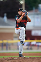 Aberdeen Ironbirds relief pitcher Jeong-Hyeon Yoon (56) gets ready to deliver a pitch during a game against the Batavia Muckdogs on July 16, 2016 at Dwyer Stadium in Batavia, New York.  Aberdeen defeated Batavia 9-0. (Mike Janes/Four Seam Images)