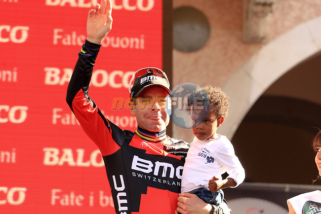 Cadel Evans (AUS) BMC Racing Team takes 3rd place overall at the end of Stage 21 from Riese Pio X to Brescia of the 2013 Giro d'Italia. 26th May 2013.<br /> (Photo:Thomas Van Bracht/www.newsfile.ie)