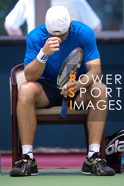 SHANGHAI, CHINA - OCTOBER 13:  Benjamin Becker of Germany reacts after loosing his match against Gael Monfils of France during day three of the 2010 Shanghai Rolex Masters at the Shanghai Qi Zhong Tennis Center on October 13, 2010 in Shanghai, China.  (Photo by Victor Fraile/The Power of Sport Images) *** Local Caption *** Benjamin Becker