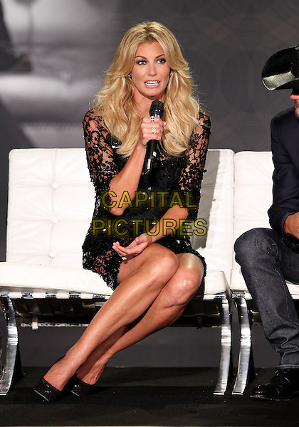 Faith Hill.Country Music Superstars Tim McGraw and Faith Hill join The Venetian Las Vegas in announcing an all-new SOUL2SOUL coming to the Venetian, Las Vegas, Nevada, USA..August 7th, 2012.full length black lace dress microphone sitting .CAP/ADM/MJT.© MJT/AdMedia/Capital Pictures.